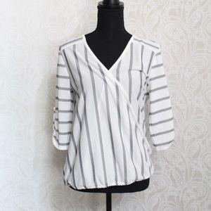 Ava James white nautical striped t-shirt blouse
